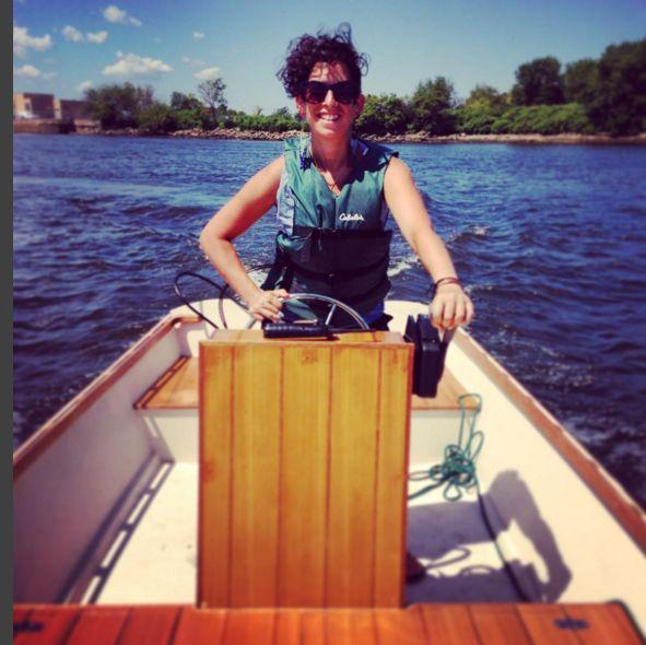 Emma Bergman on a boat
